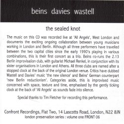 BURKHARD BEINS/RHODRI DAVIES/MARK WASTELL: The Sealed Knot - Cover